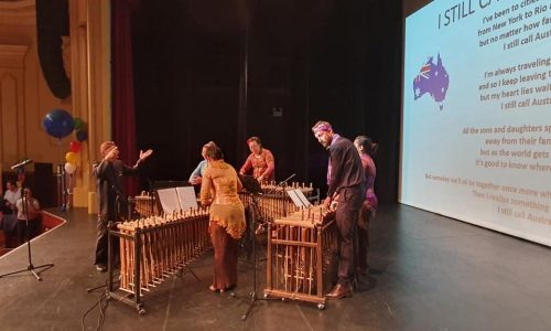 Australian Anthem played using Indonesian Traditional Instrument - Angklung